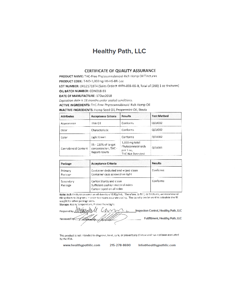 thumbnail of Healthy Path- 1000 MG- Cert. of Quality Assurance