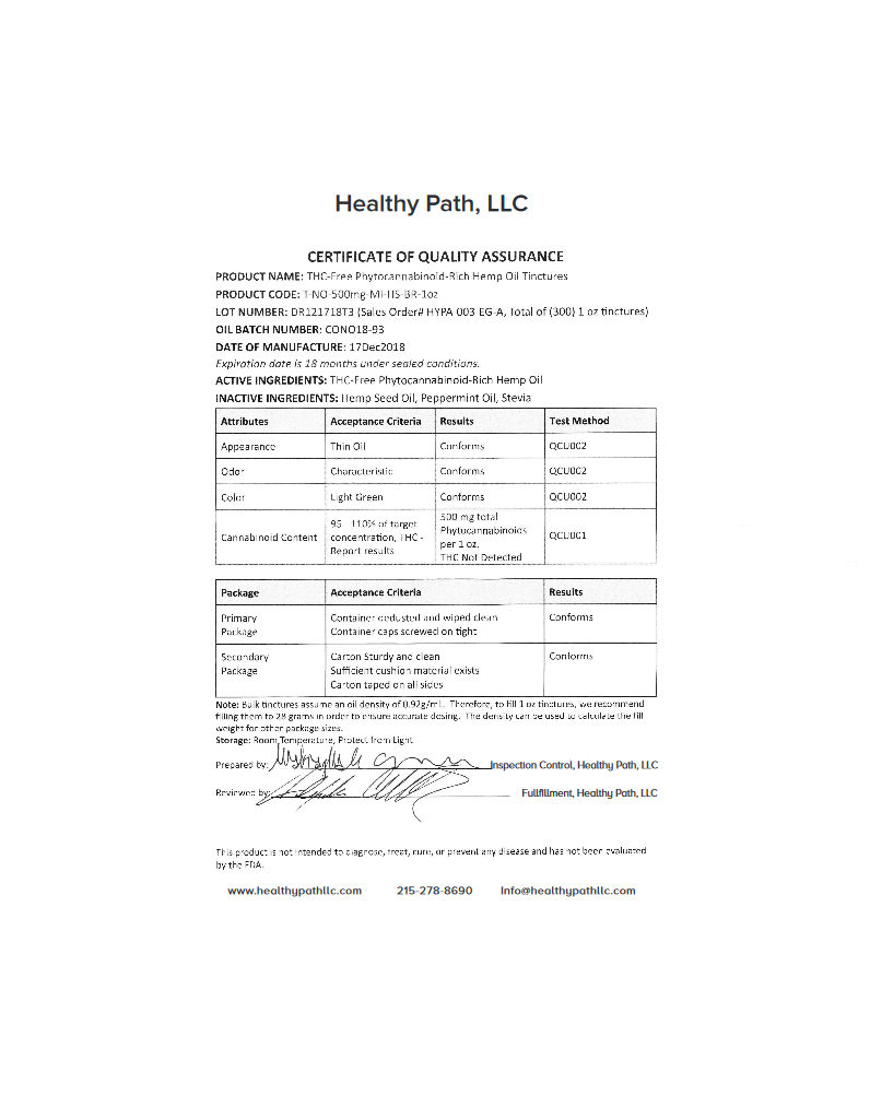 thumbnail of Healthy Path 500 MG – Cert. Of Quality Assurance